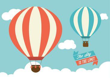 Vintage Air Balloons Sky Ribbons