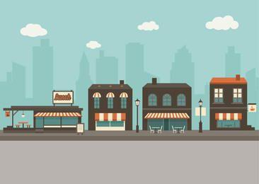 Flat Outdoor Cafes City Cartoon