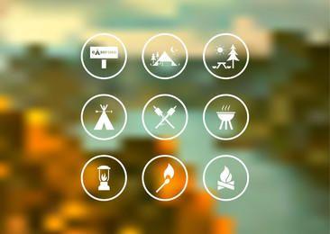 Camping Plano Icon Set Circles