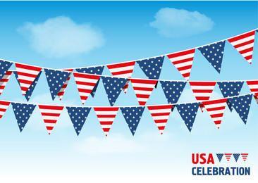 Fondo de cielo de banderas de Bunting de Estados Unidos