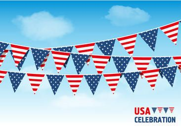 USA Bunting Flags Sky Background