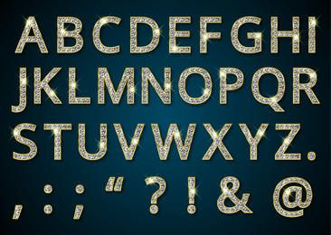 Diamond Texture Golden Alphabetic Typeface