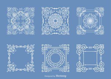 Decorative Outlined Square Doily Set