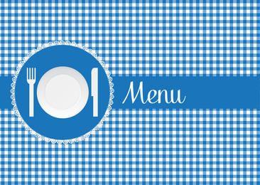 Blue Checked Restaurant Menu Cover