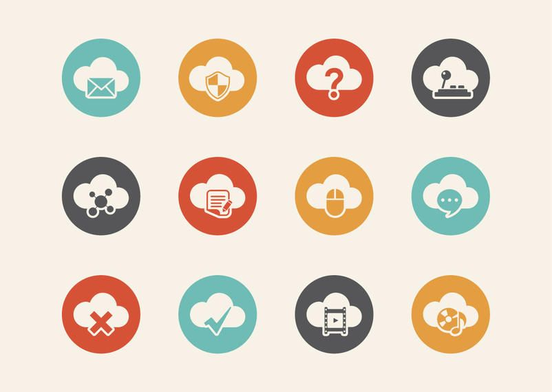 Cloud Computing Retro Icon Set