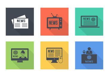 Pack de iconos planos vintage de noticias