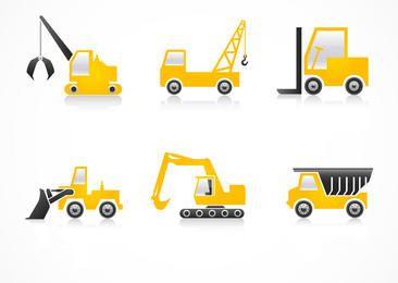 Construcción de vehículos pesados iconos planos