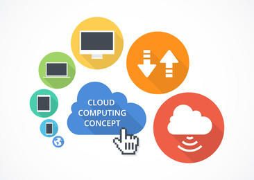 Flat Cloud Computing Concept
