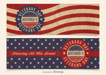 Veterans Day USA Flag Banners