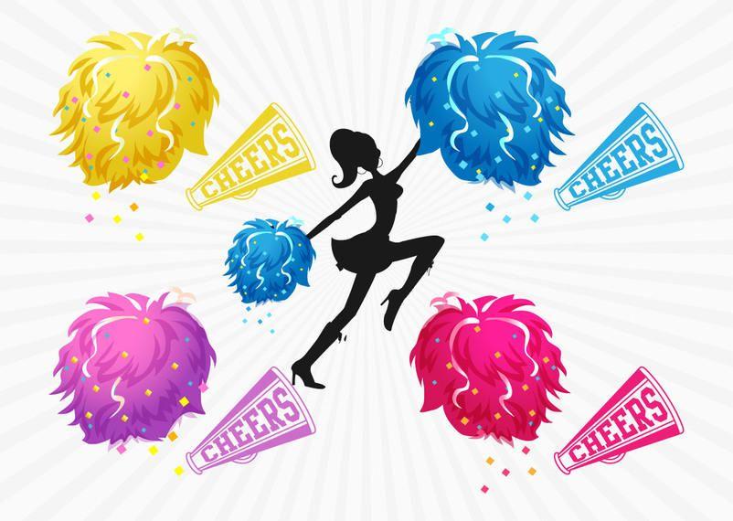 Colorful Pom Pom Cheer Girl