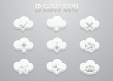 3D White Cloud Icon Set
