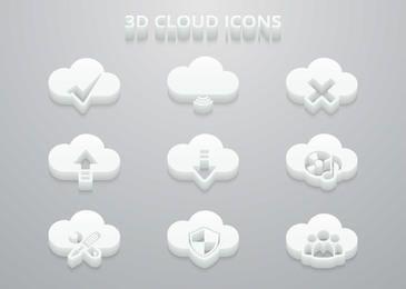 Conjunto de ícones 3D nuvem branca