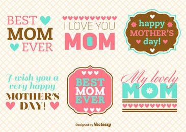 Paquete de mensajes vintage del día de la madre