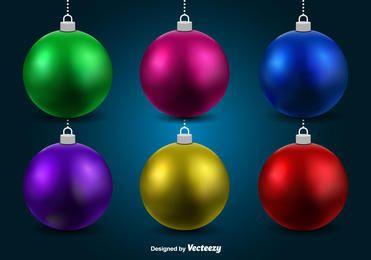 Colorful 3D Christmas Balls