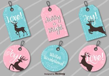 Round Rectangle Xmas Label Set