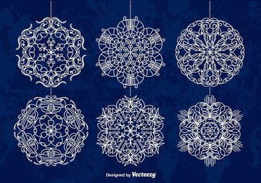 White Ornamented Snowflake Baubles
