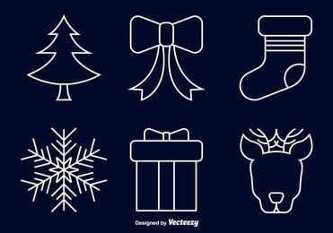 Line Art Christmas Icon Set