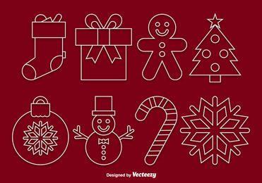 Conjunto de ícones de Natal Linear Funky