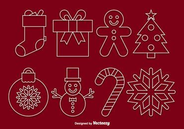 Funky Linear Christmas Icon Set