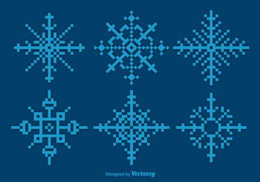 Pixilated Blue Snowflake Set