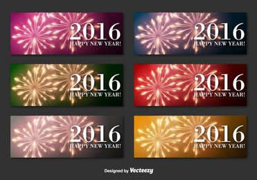 New Year 2016 Firework Banners