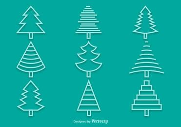 Linear Pine Tree Icon Pack