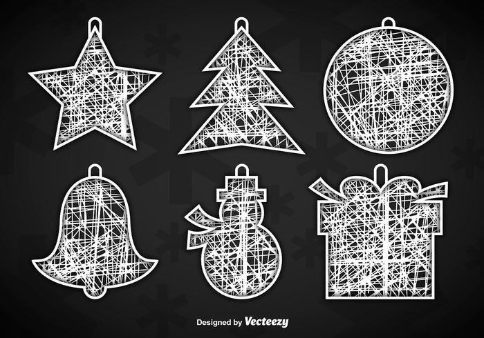 Adornos de navidad blanco perchas