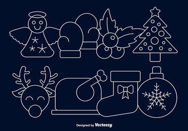 Conjunto de ícones de desenhos animados de Natal linear