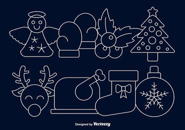Linear Christmas Cartoon Icon Set