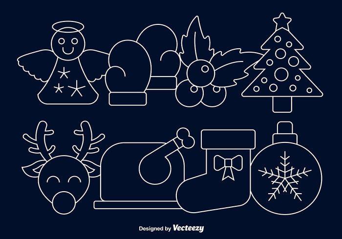 Linear Christmas Cartoon Icon Set
