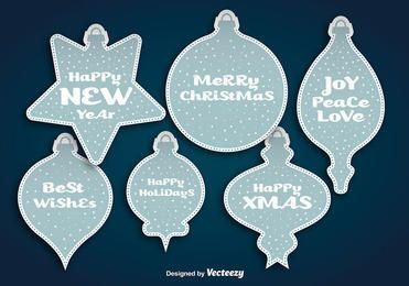 Blue Christmas Ball Sticker Set