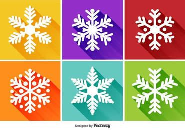 Flat Snowflake Long Shadowed Icons