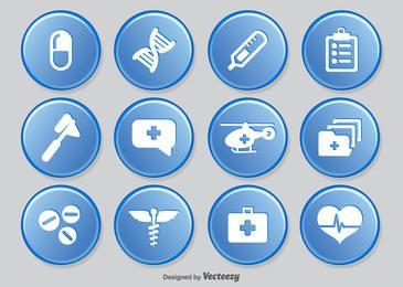 Pacote de círculos de ícone médico