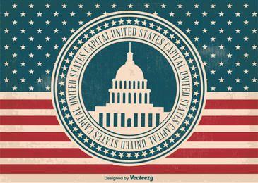 Bandera de la etiqueta de capital de los Estados Unidos