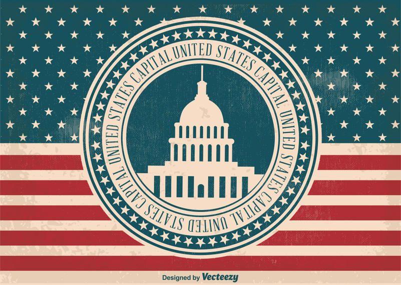 Bandeira de etiqueta de capital dos EUA