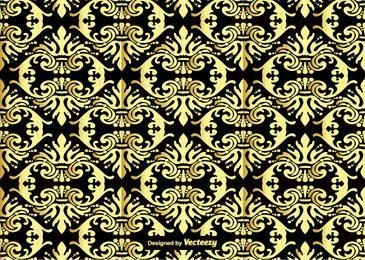 Modelo inconsútil del ornamento del damasco del oro