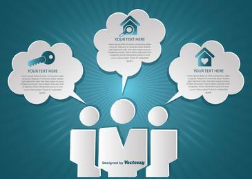 Nubes infográficas creativas de bienes raíces