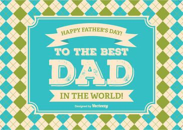 Father's Day Checked Background Message