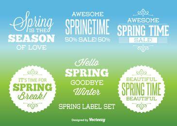 Conjunto de etiquetas tipográficas de primavera