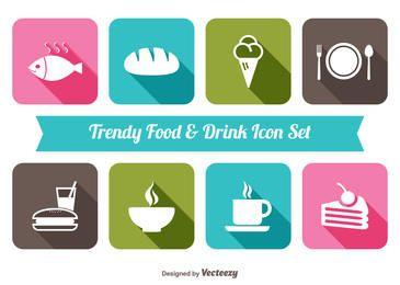 Flache Lebensmittel & Getränke-Icon-Set