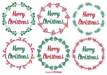 Rounded Floral Christmas Label Set
