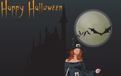 Fondo de bruja de Halloween