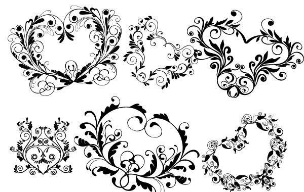 Formas de coraz n ornamentales descargar vector for Formas ornamentales