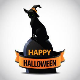 Halloween Witch Cat Tombstone Ribbon