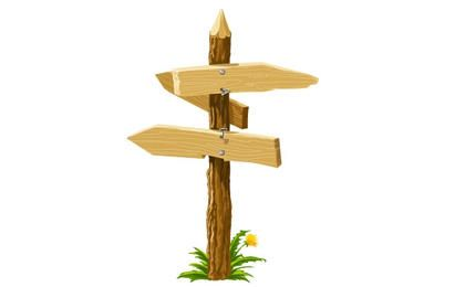 Flechas de dirección de madera en la encrucijada