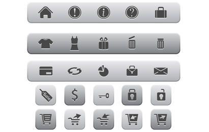 Internet e ícones de compras on-line