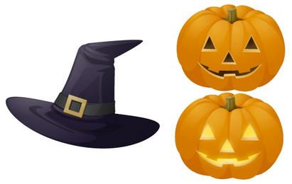 Pumpkin and witch hat illustrations