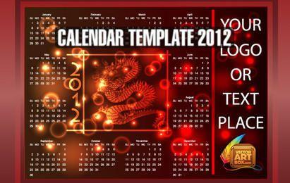 Plantilla de calendario de dragón de 2012