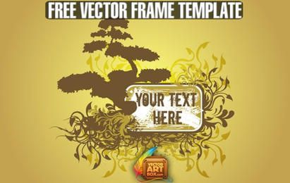 Free Vector Floral Tree Frame Template