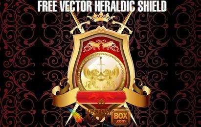 Grande escudo heráldico de vetor livre